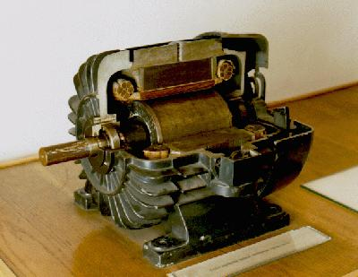 A cutaway demonstration of Tesla's early three phase motor.