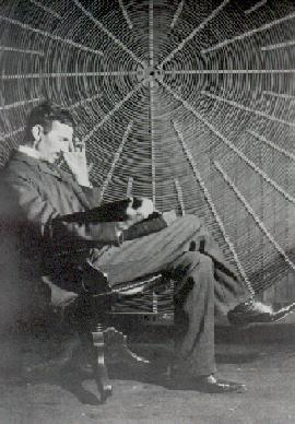 Tesla in front of one of his favorite flat spiral coils reading a passage by James Clerk Maxwell.